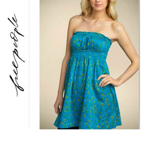 Free People Indian Vine Floral Sateen Tube Dress